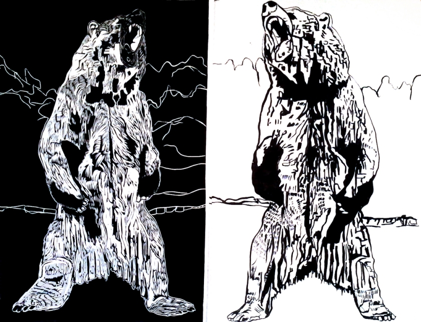 Roaring Bear Linocut and Ink Drawing