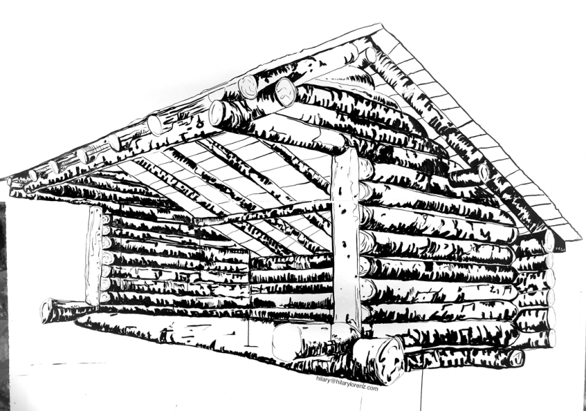 8' x 6' Ink drawing of Lean-to by Hilary Lorenz