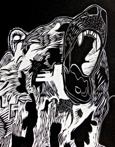 "bear head, teeth, mouth, 8"" x 10"" affordable art"