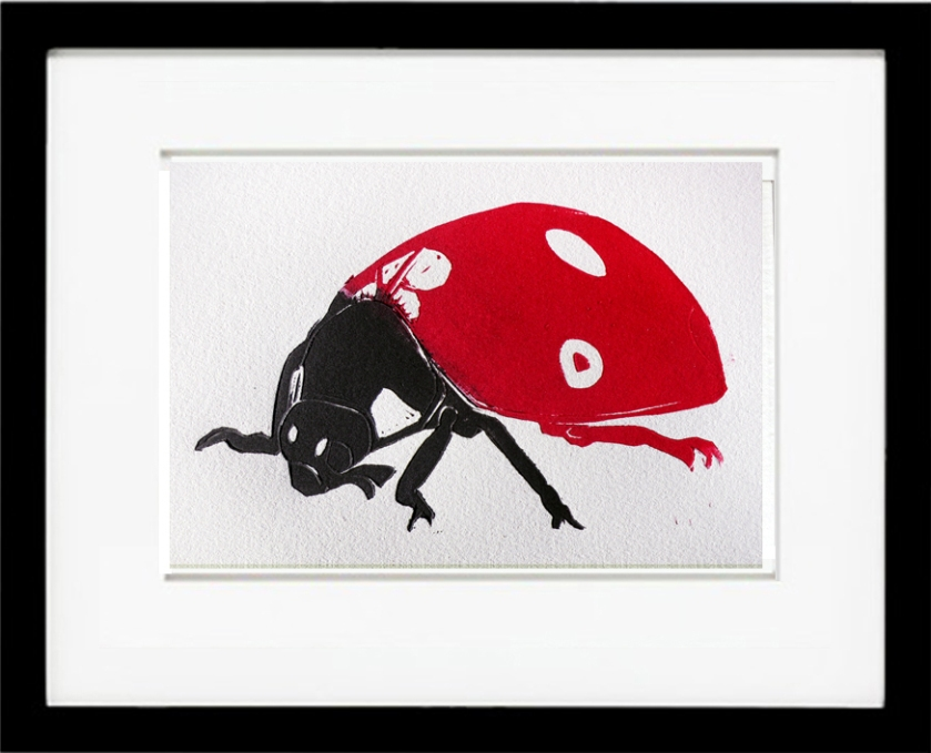 Ladybug limited edition linoleum block print