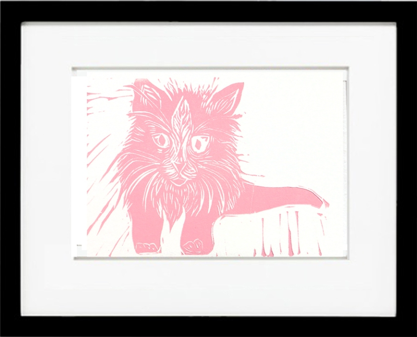 Framed Pink Kitten
