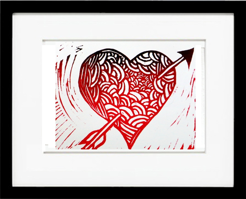 Be Mine! Linocut
