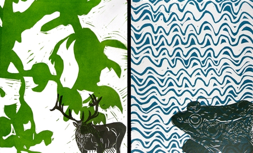 Elk print and Frog print side by side