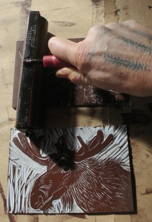 hilary lorenz, linocut, hand ink, moose