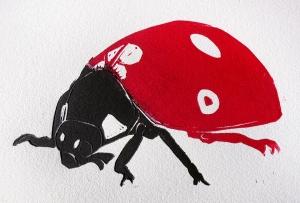 Ladybug linocut print