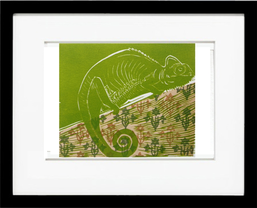 iguana, green, print, chine colle, jungle, small, affordable art