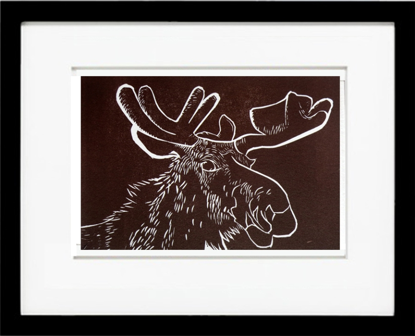 mooseface, brown moose, adirondack moose, moose linocut, moose outline