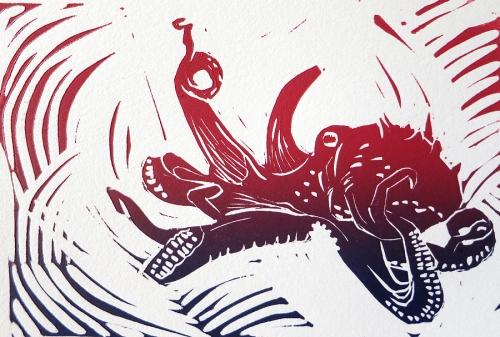 Close up of Octopus Linoleum Block Print