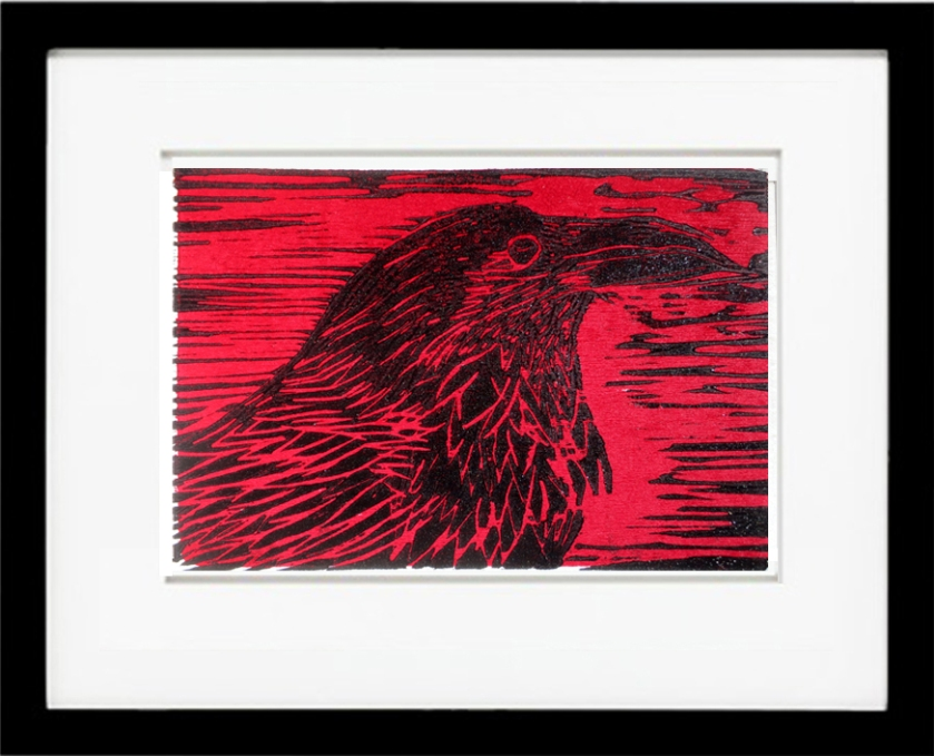 Red Raven Woodcut
