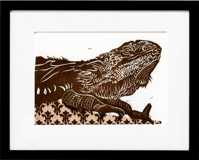 framed bearded dragon  linocut version 1, brown chine colle