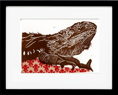 Framed beared dragon  linoccut version 2, red chine colle