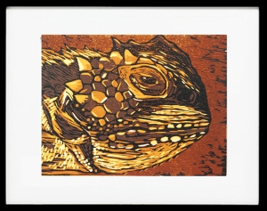 Horned Lizard II reduction woodcut
