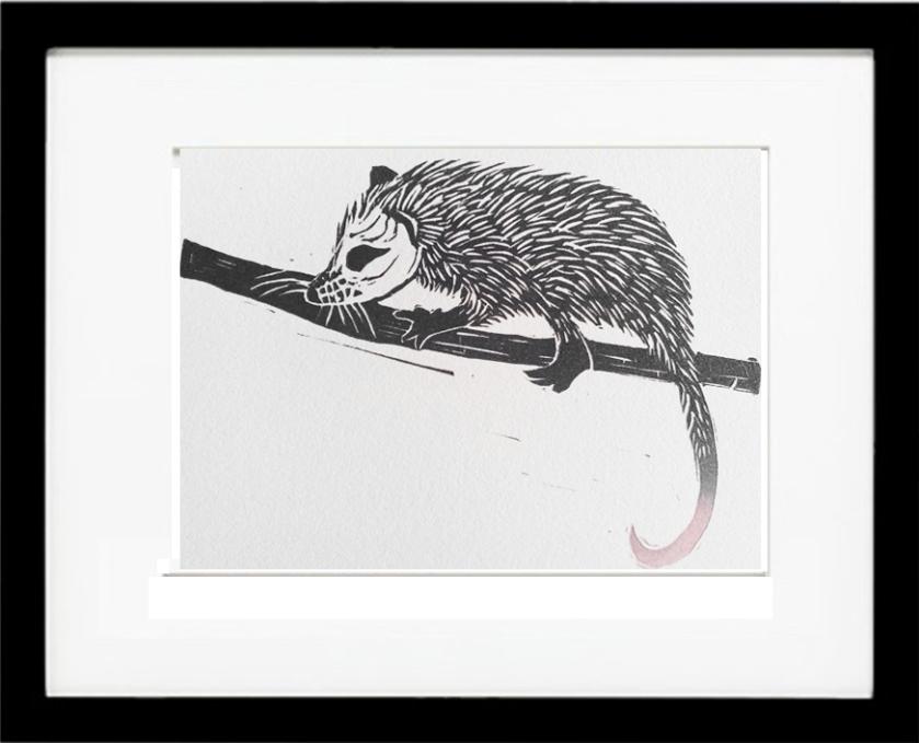 framed_linocut_possum
