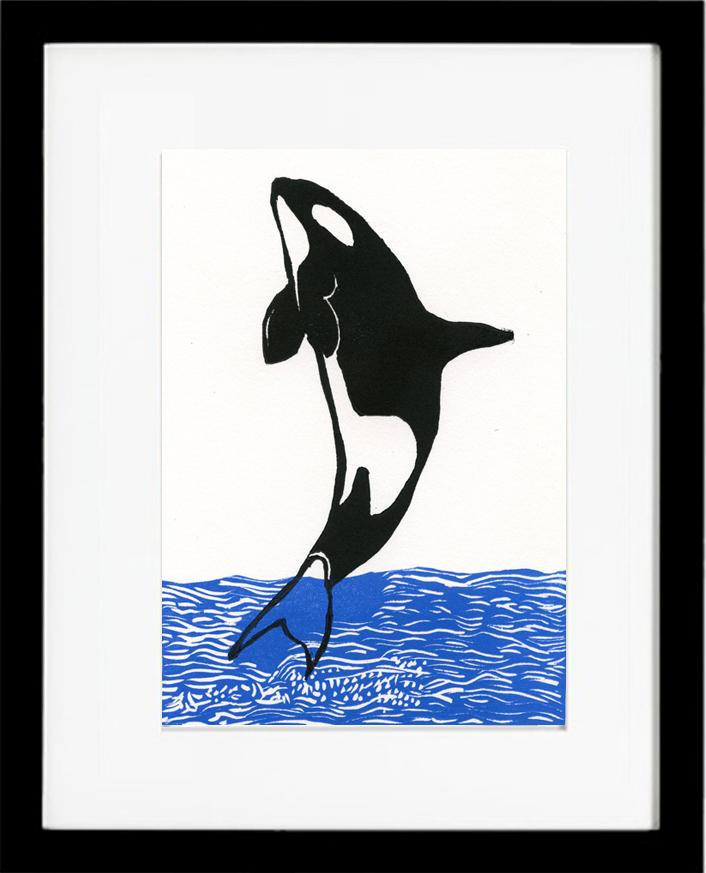linoleum cut, whale, killer whale