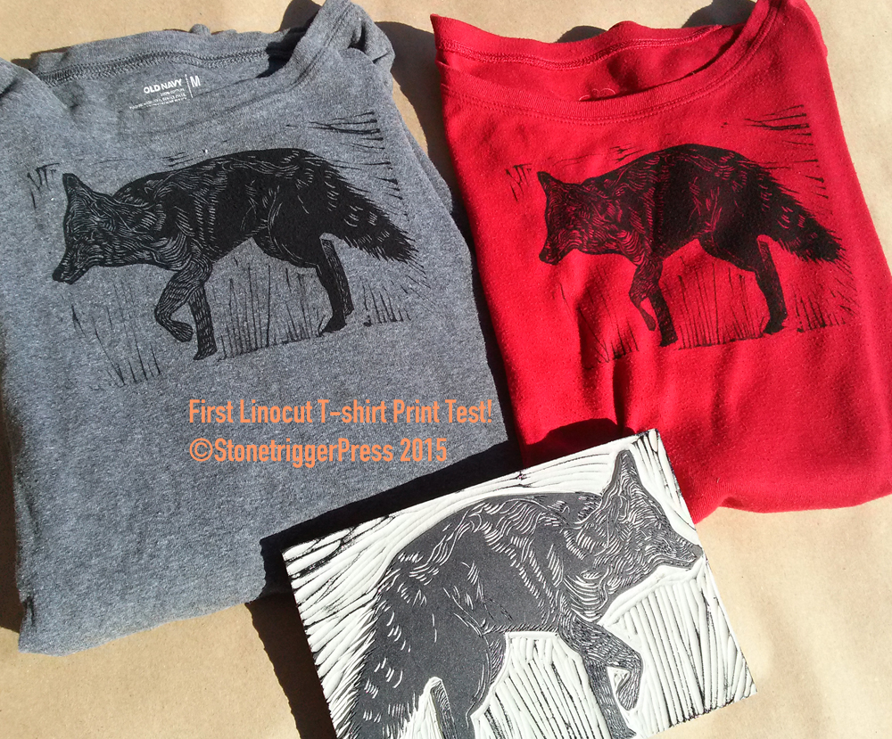T Shirt Test For Linocut Printing Hilary Lorenz