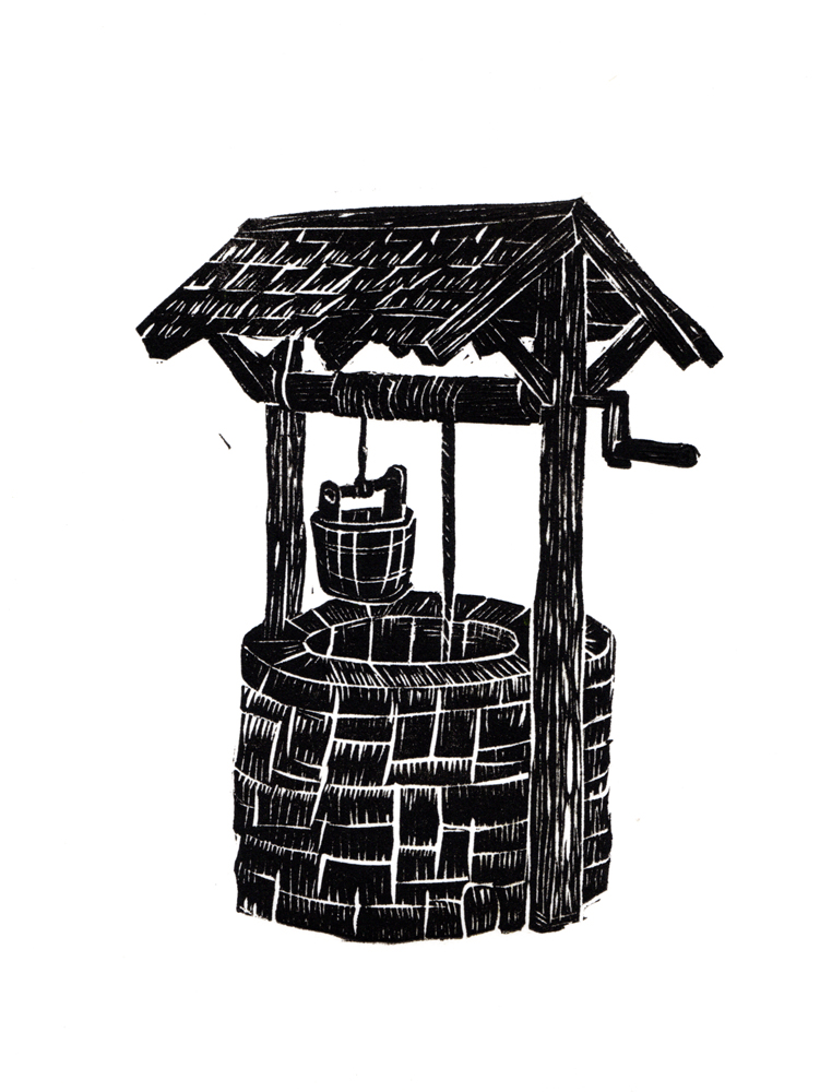 vintage well, stone well, water well, linocut well