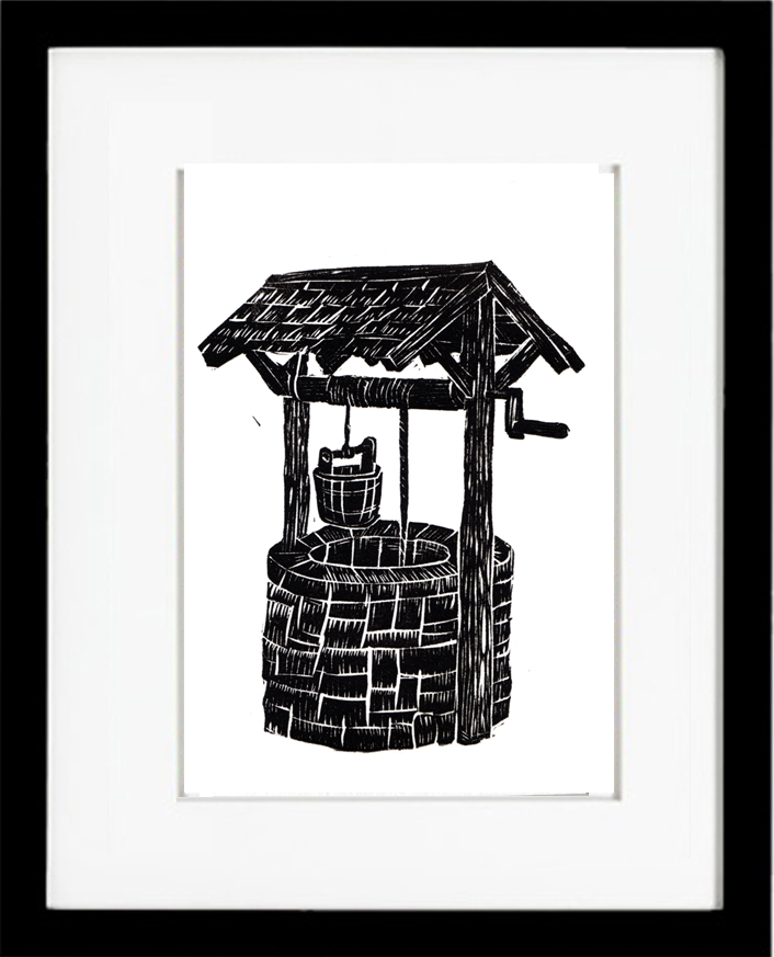 hilary_lorenz_wishing_well_linocut_framed