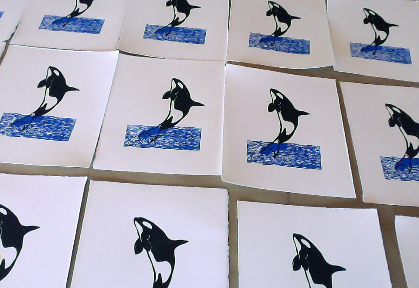 Table of prints drying