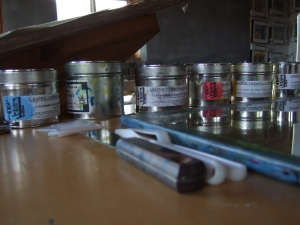 Cans of litho ink