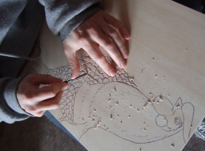 Lisa Studier's chicken print carving