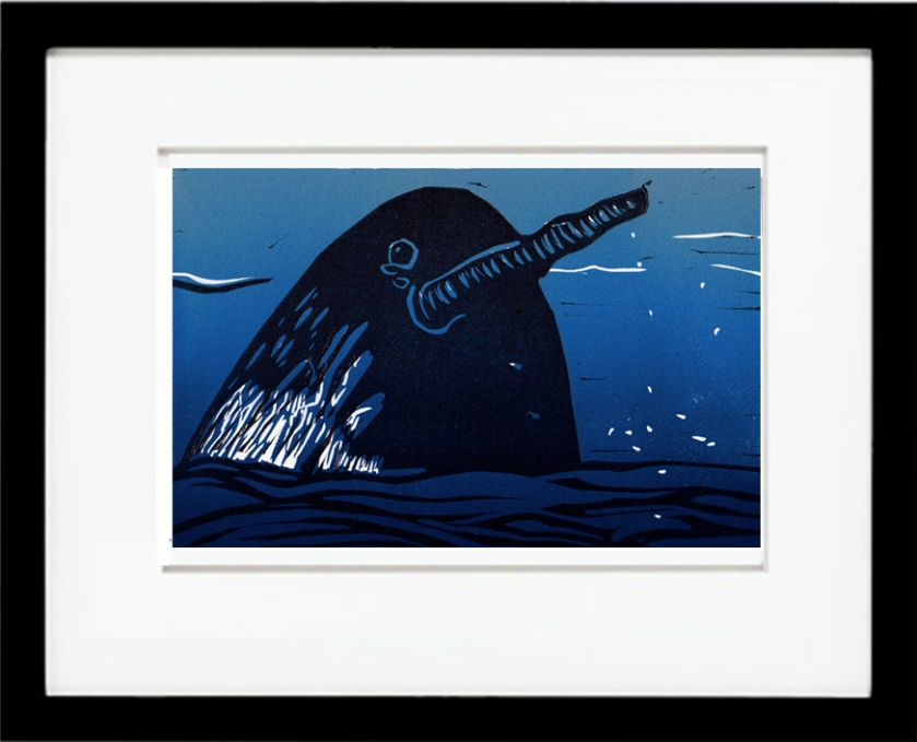 "Narwhal, 10"" x 8"" linocut available on Stonetrigger Press Etsy."