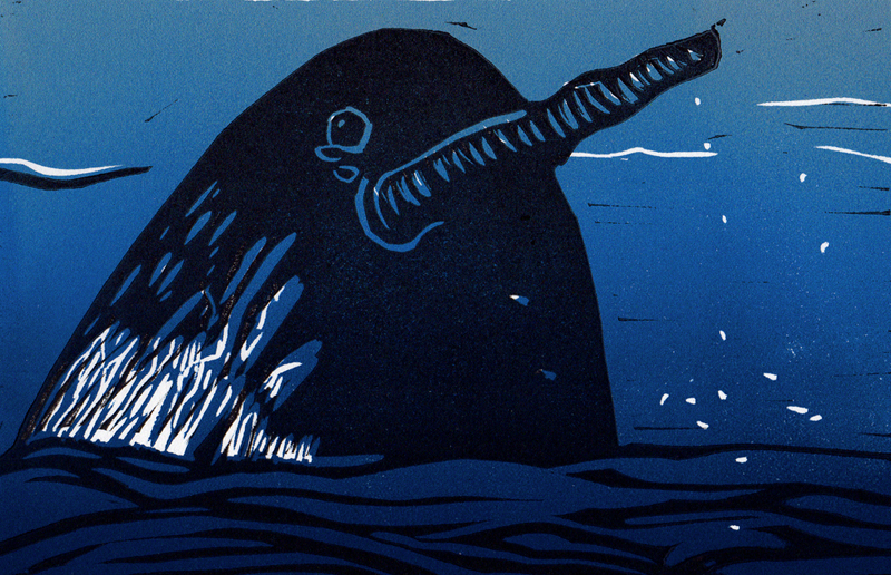 Narwhal linocut