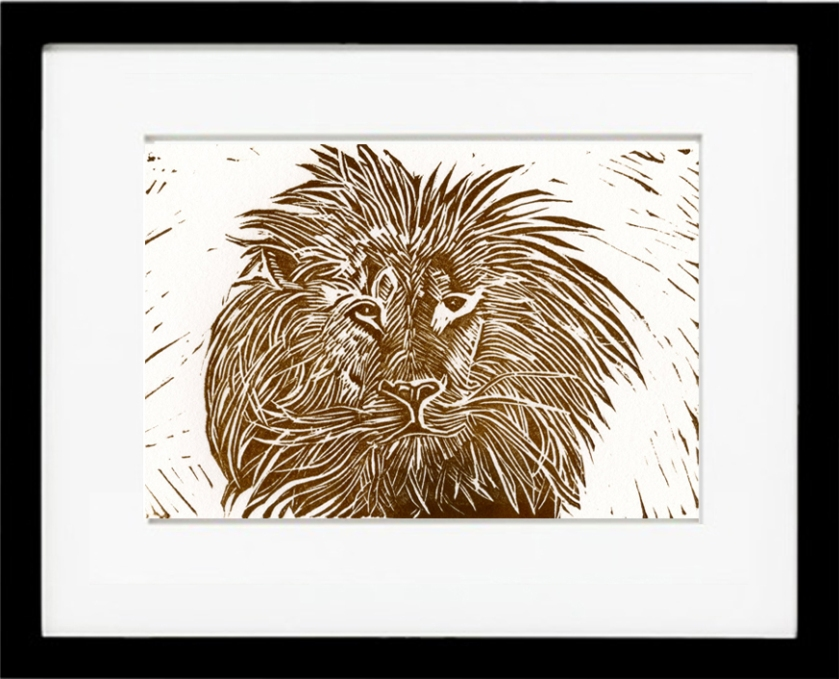 linocut, lion, kind of the jungle,