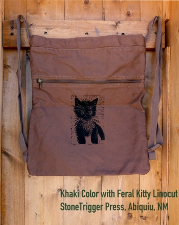Khaki  Cinch bag with Feral Kitty  Linocut
