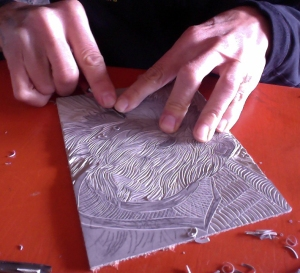 Carving Linocut of Sam