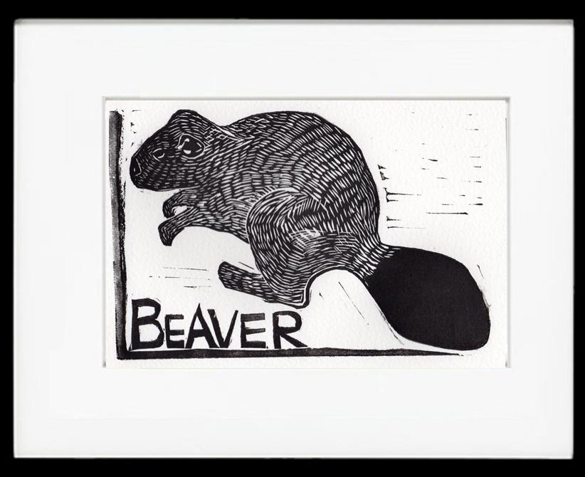 Beaver Linocut