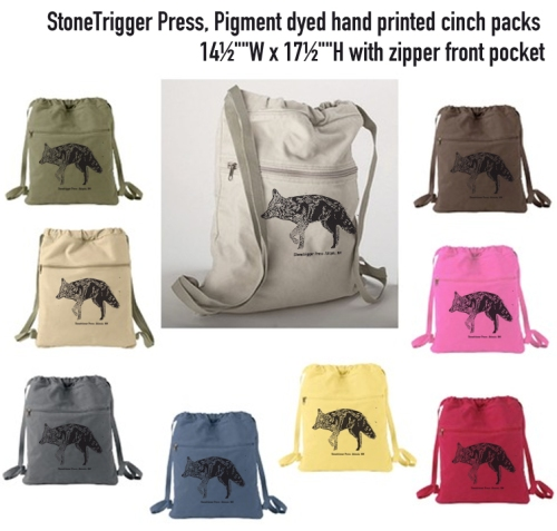 Nine colors of Stonetrigger Press hand printed bags.