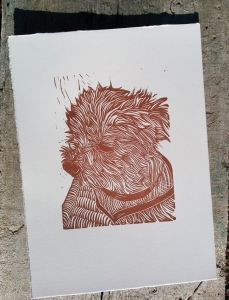 Sam, Linocut Dog custom dog portrait
