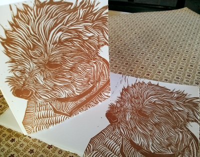 "4"" x 5"" folded hand printed linocut cards with custom carving"