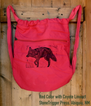 Red Cinch bag with Coyote Linocut