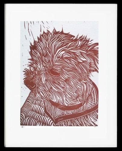 Sam Linocut Custom Dog Portrait