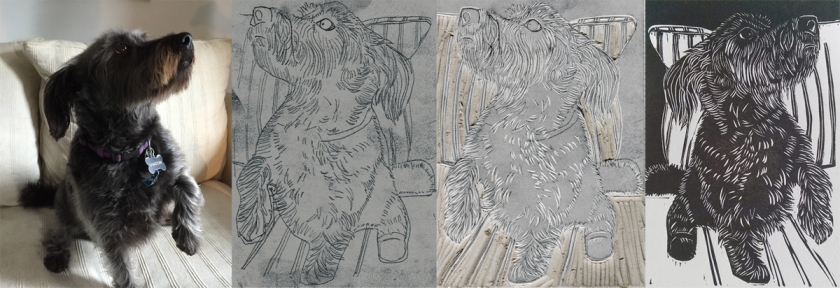 Shadow, custom linocut dog portrait