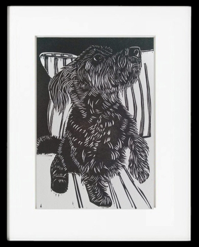 Shadow, custom linocut dog portrait in dark grey