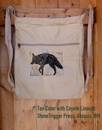 Tan Cinch bag with Coyote Linocut