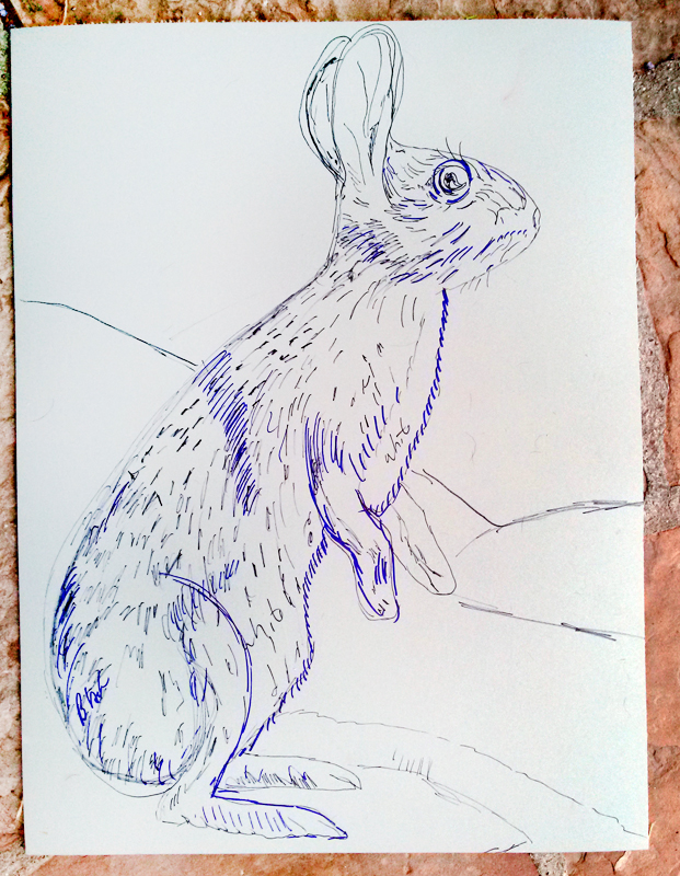 "Rabbit Linocut beginning, 24"" x 18"""