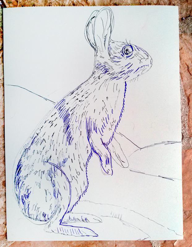 "Rabbit Linocut beginning, 24"" x 18"""