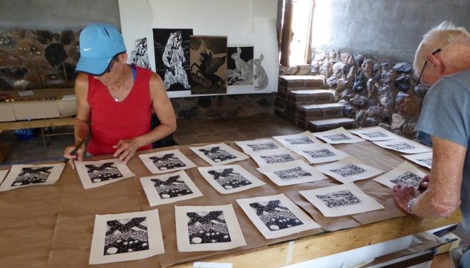 Michelle and Tom Holland printing at Stonetrigger Press