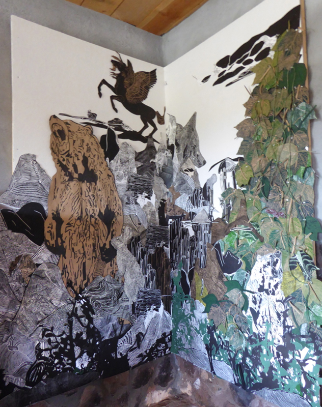 Wilderness cut paper installation for Open Studio, Abiquiu, NM