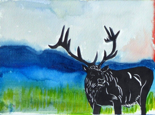 "5"" x 7"" Elk linocut collaged onto 300 lb. watercolor paper and drawing landscape"