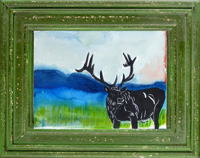 One of a Kind Watercolor Elk Collage, Click to Purchase