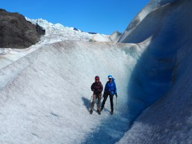 Nancy Morrill and Hilary Lorenz on Mendenhall Glacier