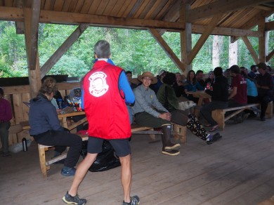 At camp with 48 hikers the night before crossing the pass. We played 6 rounds of Bingo for great prizes. People went home with my hand made and signed bingo cards.