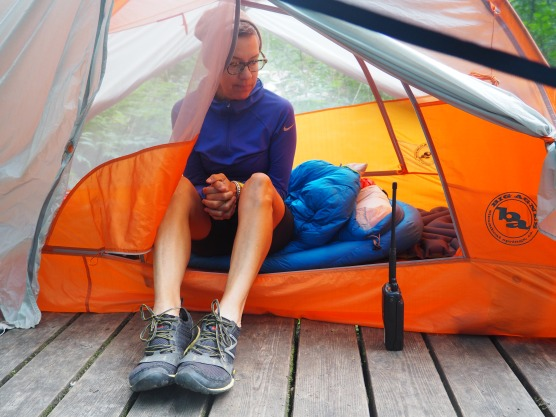 Hilary hanging out her in tent