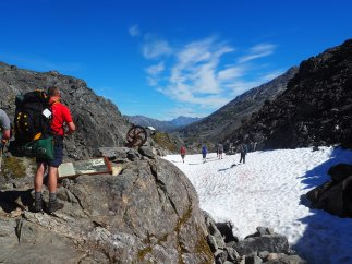 I love snow in August! Top of the Chilkoot Paxx